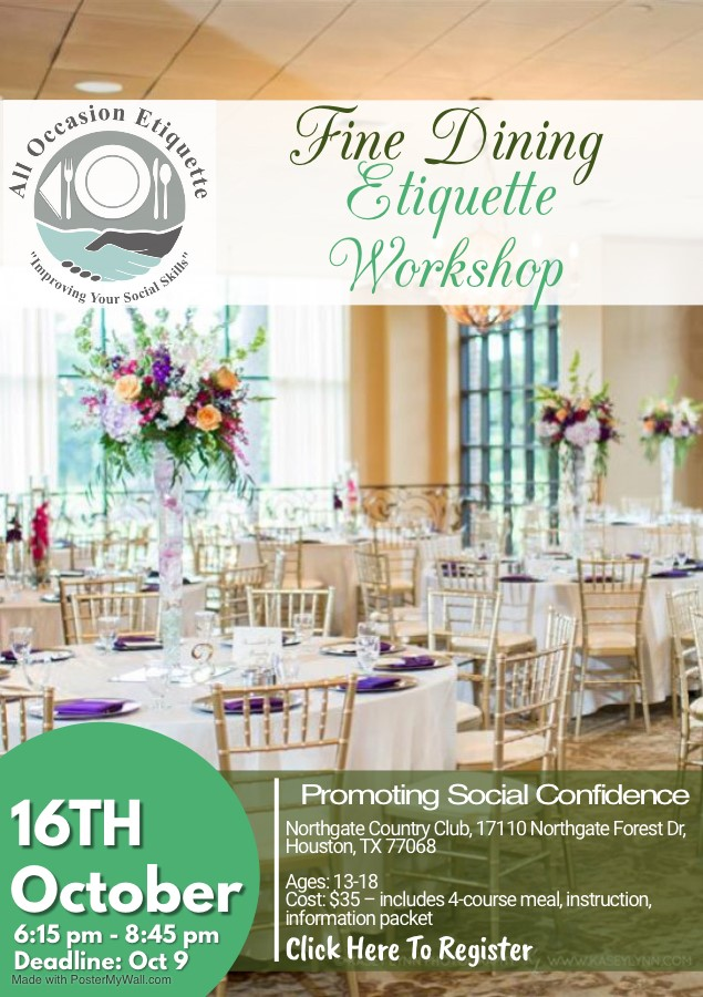 Fine Dining Etiquette Workshop October 16 2019